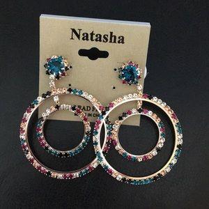 New Natasha Multi Color Crystal Double Hoops